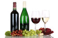 Wine in bottles on white Royalty Free Stock Photo