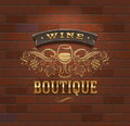 Wine boutique - vintage signboard Royalty Free Stock Image
