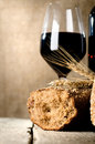 Wine, bread and wheat Stock Photo