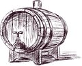 Wine cask vector image of a sketch of an old Stock Photos