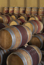 Wine casks in cellar stacked barrels to ferment Stock Photography