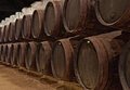 Wine cellar barrels with in porto portugal Stock Photo