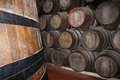 Wine cellar wooden barrels in a porto portugal Stock Photography