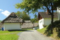 Wine cellars thatched with straw typical for the southeast of austria Royalty Free Stock Images