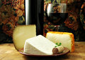 Wine and Cheese Stock Photo