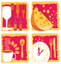 Wine, cheese, coffe and dinner icons Stock Photos