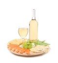 Wine and cheese composition isolated on a white background Royalty Free Stock Photos