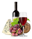 Wine cheese and grape in basket Royalty Free Stock Photography