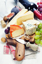 Wine and cheese plate close up image Royalty Free Stock Photo