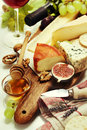 Wine and cheese plate close up image Stock Photography