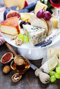 Wine and cheese plate close up image Stock Photo