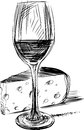Wine and cheese vector image of a glass of Stock Photo