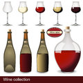 Wine collection of different illustrations in bottles and glasses vector images the also contain an abstract label Stock Photo