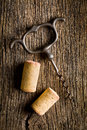 Wine cork and corkscrew Royalty Free Stock Photo