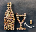Wine corks arranged in shape of bottle and glass Royalty Free Stock Photo