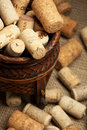Wine corks in basket Stock Photography