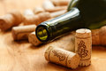 Wine corks and bottle Royalty Free Stock Photo