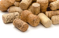 Wine corks close up of used assorted on white Royalty Free Stock Image