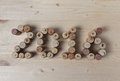 Wine corks closeup 2016 Royalty Free Stock Photo