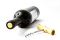 Wine and corkscrew isolated on white background bottle of red Stock Photography