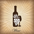 Wine cover over grunge background vector illustration Royalty Free Stock Photo
