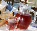 wine crusty bread  greek taverna Royalty Free Stock Photo