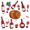 Wine element collection set vector illustration Stock Images