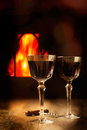 Wine By The Fire Royalty Free Stock Photos