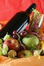 Wine and fruit basket Royalty Free Stock Photo