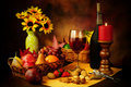 Wine, fruit and nuts still life Royalty Free Stock Photo