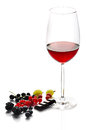 Wine and fruits glass of red with isolated on white Stock Photos