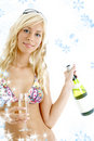 Wine girl with snowflakes #2 Stock Photos