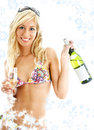 Wine girl with snowflakes Royalty Free Stock Photography