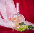 Wine in glass and bottle with green grape Stock Photos