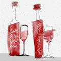 Wine glass and bottle, red watercolor sketched silhouette Royalty Free Stock Photo