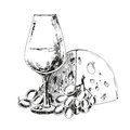 Wine glass with cheese and grapes hand drawn illustration Royalty Free Stock Photography