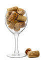 Wine glass and corks Stock Image