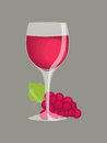 Wine in a glass red with bunch of grapes isolated on gray background Stock Photos