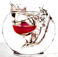 The wine-glass with red wine falls in a vase Royalty Free Stock Photo