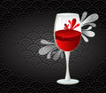 Wine glass with splash pattern background Stock Images
