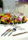 Wine glasses on a dining table Royalty Free Stock Image