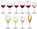 Wine glasses filled with red and white wine Royalty Free Stock Photo