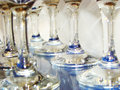 Wine glasses glass on a glass shelf Royalty Free Stock Photography
