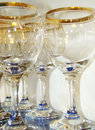 Wine glasses glass on a glass shelf Stock Photos