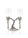Wine glasses hang on beautiful pewter stand a pair of luxury Stock Photo