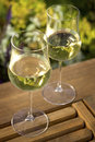 Wine Glasses on Outdoor Table Royalty Free Stock Images