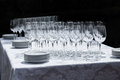 Wine glasses with plates on the table. Royalty Free Stock Photo