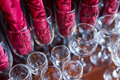Wine glasses at restaurant with the napkins Royalty Free Stock Photos