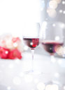 Wine glasses on the table in restaurant love romance holiday celebration concept Royalty Free Stock Photos