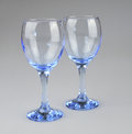 Wine glasses two blue coloured photo taken march Royalty Free Stock Images
